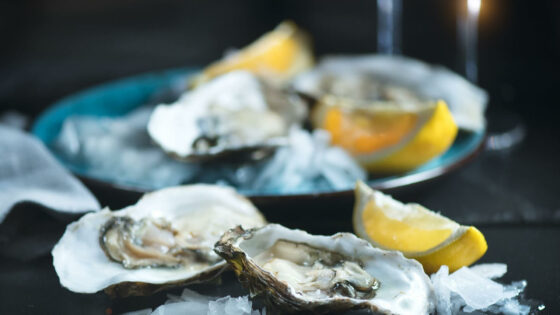 Oysters and lemon in a plate
