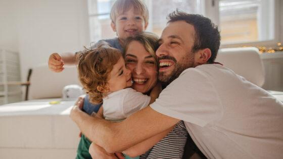 Family hugging together