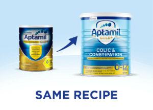 Aptamil Gold Colic & Constipation formula new look