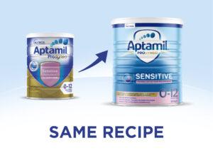Aptamil Gold Prosyneo Sensitive formula new look