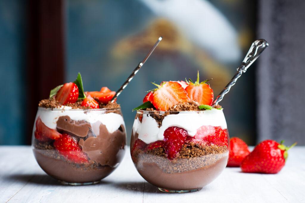 Forticreme Recipe Chocolate Layered Strawberry parfait with cream and chocolate closeup