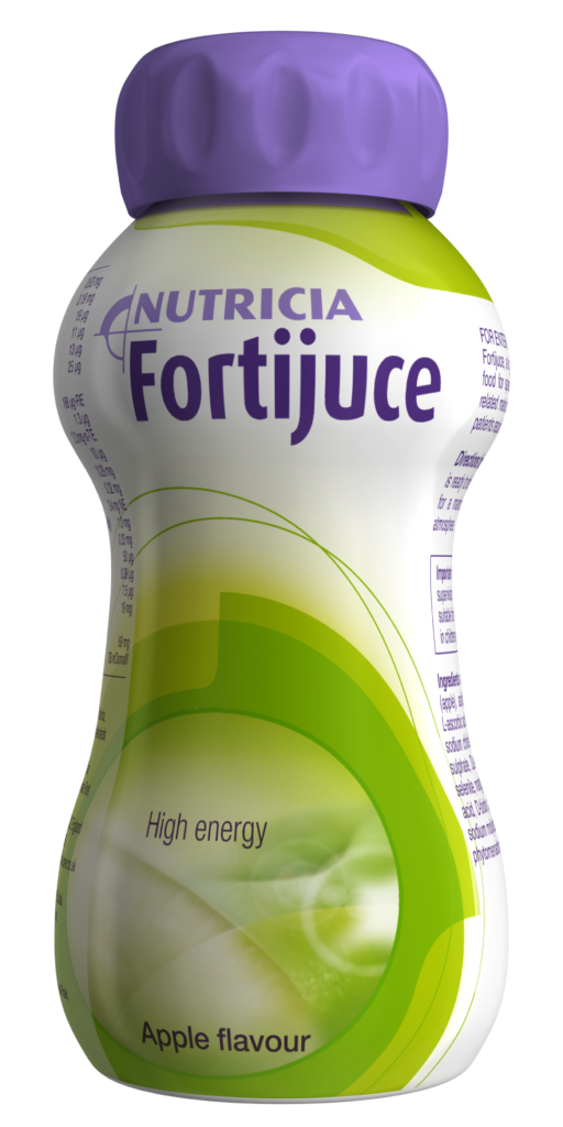 Fortijuice Apple Flavour: fat free, reduced mineral content juice style oral nutritional supplement