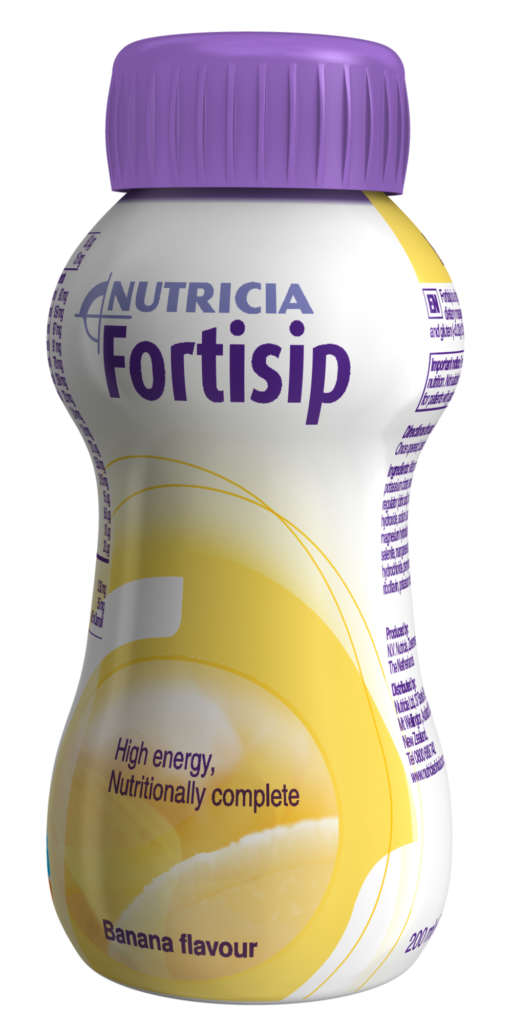Fortisip banana flavour, ready-to-drink, nutritionally complete oral nutritional supplement.