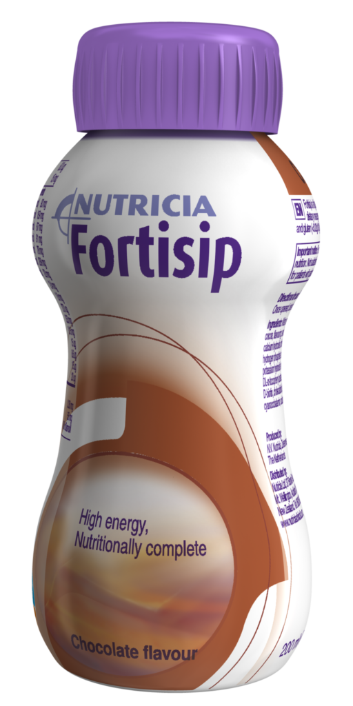 Fortisip chocolate flavour, ready-to-drink, nutritionally complete oral nutritional supplement.