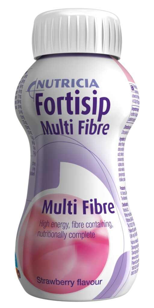 Fortisip Multi Fibre strawberry flavour, ready-to-drink fibre enriched, oral nutritional supplement