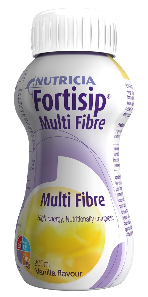 Fortisip Multi Fibre Vanilla flavour, high energy, fibre enriched, oral nutritional supplement.