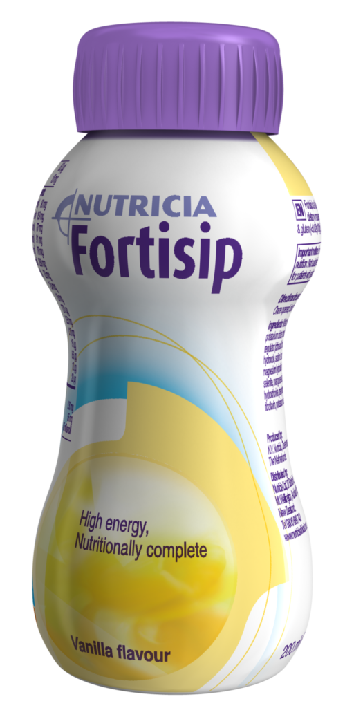 Fortisip vanilla flavour, ready-to-drink, nutritionally complete oral nutritional supplement.