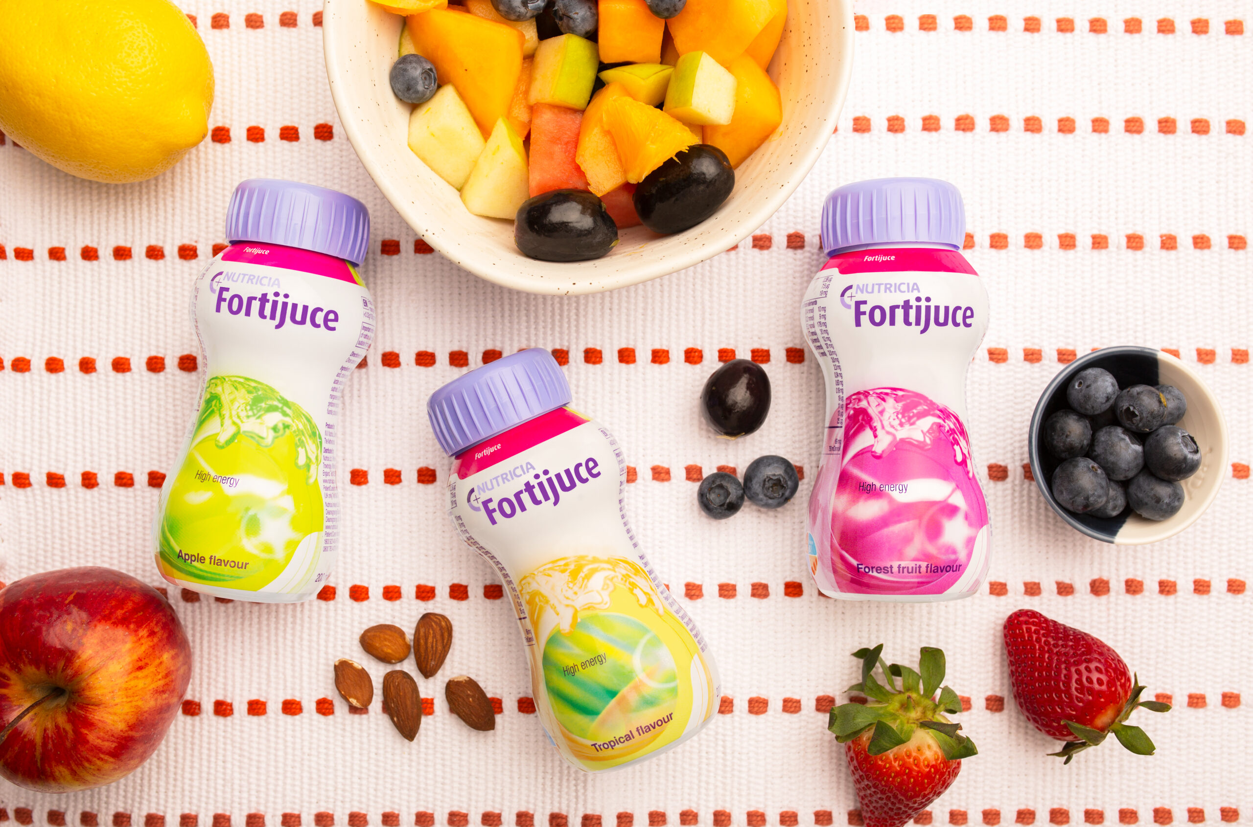 Fortijuice 3 flavours, apple, tropical and forest fruit