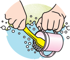 Icon showing how to rinse a sippy cup