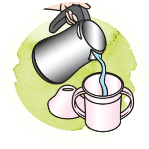 Icon showing how to pour water in the cup