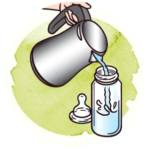 Icon showing how to pour water in the bottle