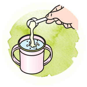 Icon showing how to scoop the powder in the cup