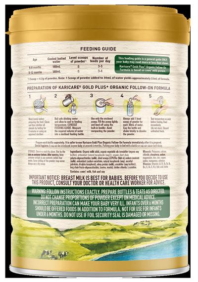 Karicare Gold Plus Organic Follow On Formula SOP